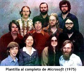 Plantilla al completo de Microsoft en 1975