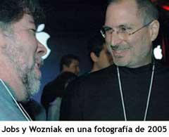 Jobs y Wozniak durante una keynote de Apple en 2005